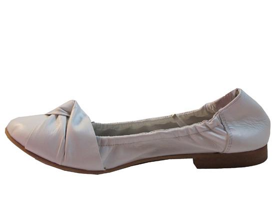 Lamica Women's 1048 Leather Italian Flat Round Toe Shoes White