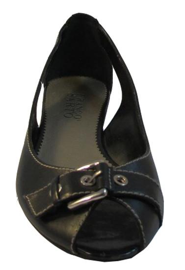 Franco Sarto Women's Tap Peep Toe Flat Shoes Black