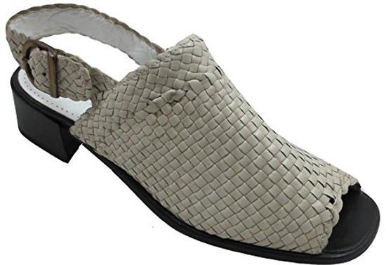 Women's Davinci Designer 17323 Woven Leather Italian Casual sandal, Beige