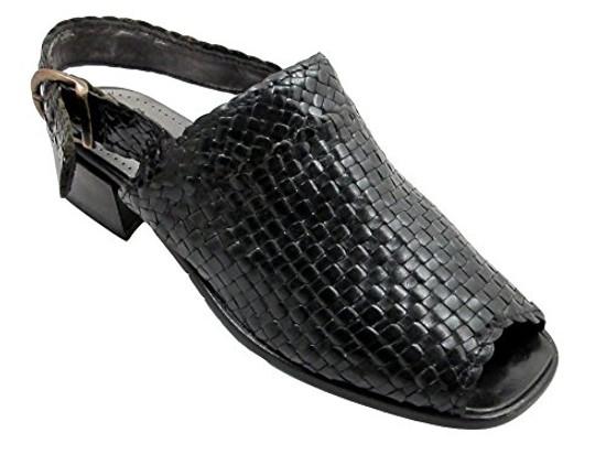 Women's Davinci Designer 17323 Woven Leather Italian Casual sandal Black
