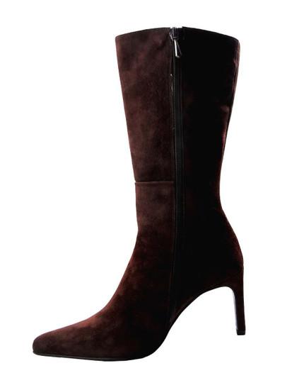 DA'VINCI 4051 Women's Italian Leather Python Print Dress/Casual Low Heel Pointy Toe in Brown Suede Zipper Vew