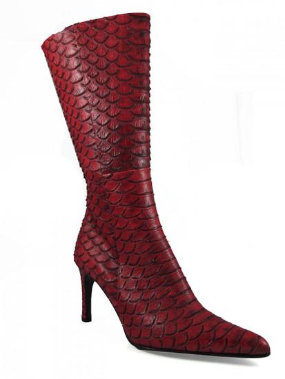 DA'VINCI 4051 Women's Italian Leather Python Print Dress/Casual Low Heel Pointy Toe in Red Snake Skin Main image