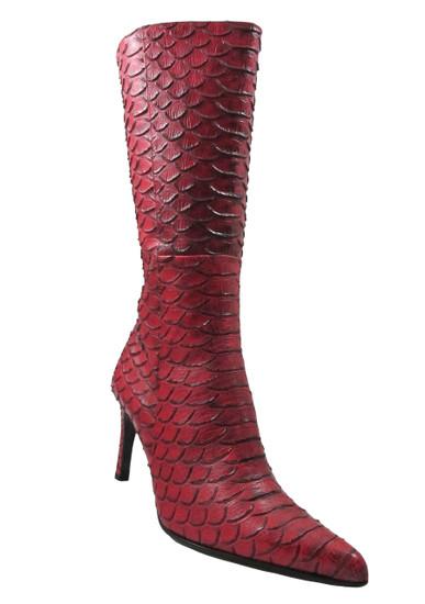 DA'VINCI 4051 Women's Italian Leather Python Print Dress/Casual Low Heel Pointy Toe in Red Snake Skin side view