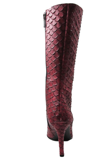DA'VINCI 4051 Women's Italian Leather Python Print Dress/Casual Low Heel Pointy Toe in Red Snake Skin  back view