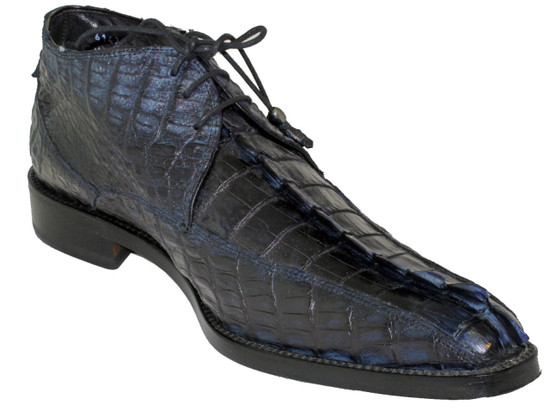 Toscana 6142 Men's Dressy Crocodile Horn Blue