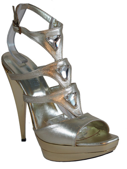 "Women's Biondini 5.5"" High Heel Dressy Leather Sandal Gold 7453"