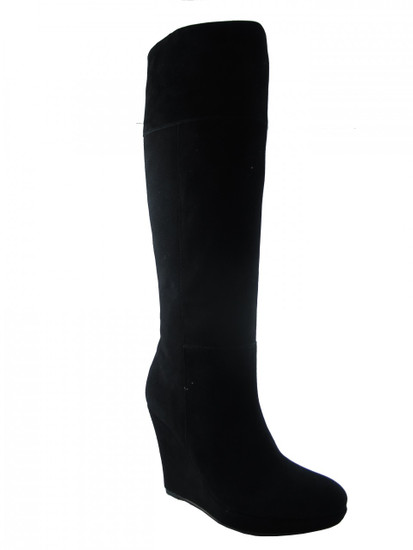 Women's Luciano Barachini  Dressy Italian Wedge Knee High Suede Boot12562 Black
