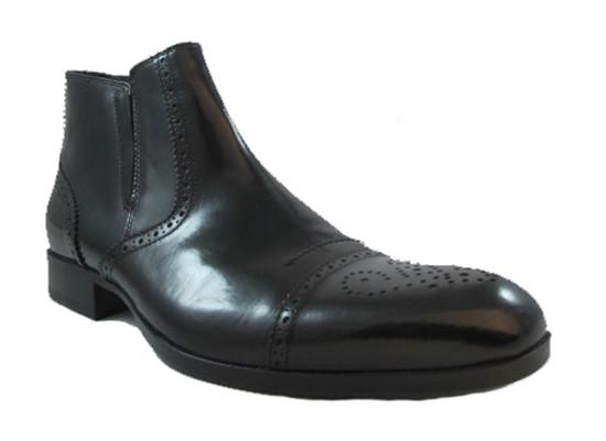 Gianfranco Butteri Men's Italian Leather Dressy Boots 21502 in Black/Brown
