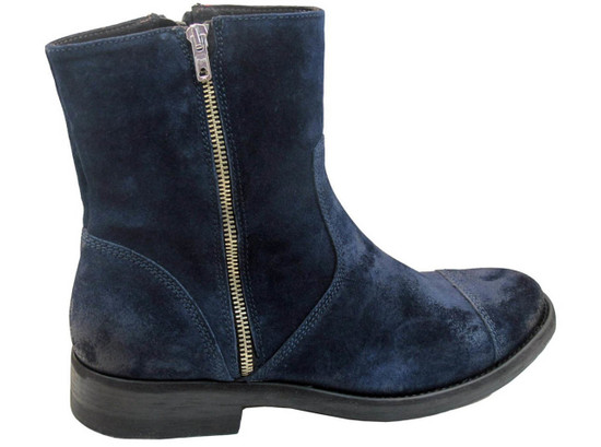 Men's 4016 Davinci Italian Dressy/Casual Ankle Boot Brushed Blue Suede