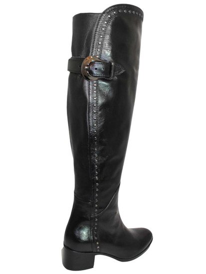 Women's Italian Over the Knee Boots 179918 Black and Brown By Le Pepe