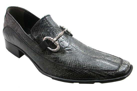 Men's 2842 Slip-On Dressy Snake Leather Shoes Italian designer Mauron Black
