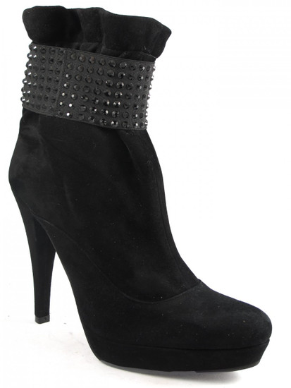 Albano 950 Women's Italian Ankle High Heel Boots in Black Suede
