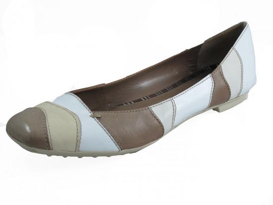 Women's Italian Flat Leather Two tone Beige/Off white Shoes Bala By Davinci