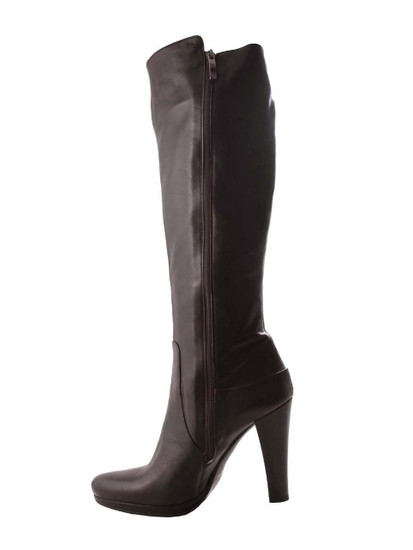 Albano Women's Italian Designer Knee High Boots 818, Dark Brown