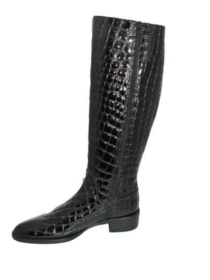 Lamica Women's Italian  Knee High Boots  croc, Black and Brown