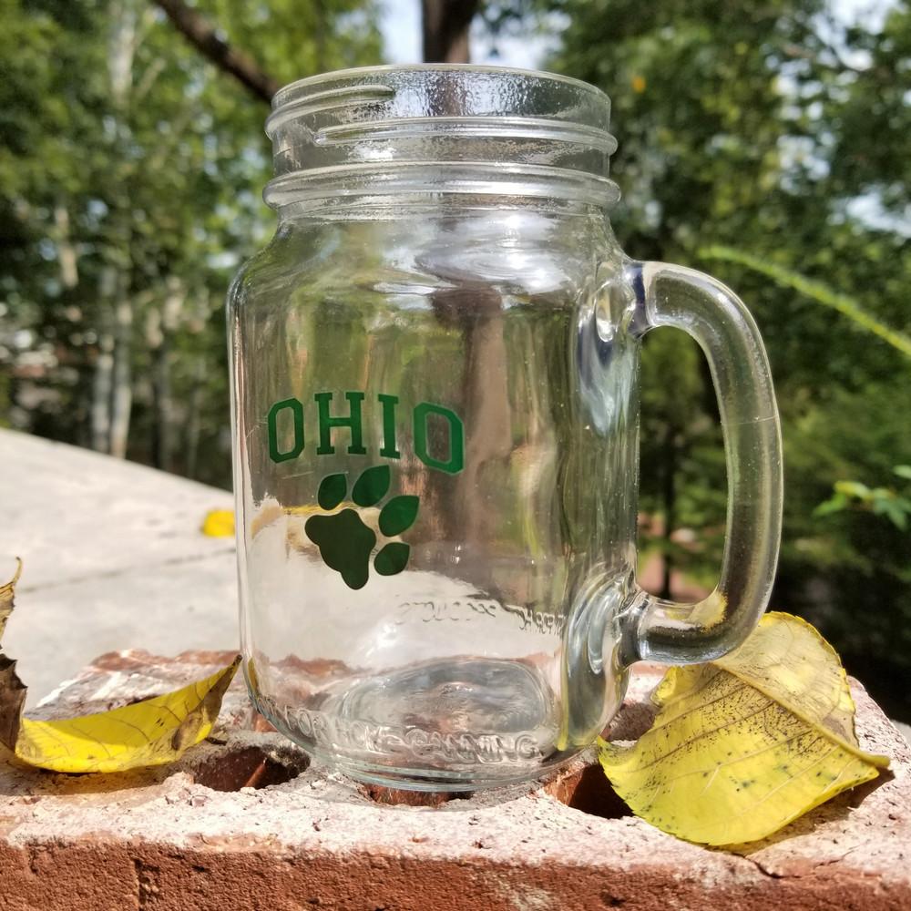 OHIO PAW MASON JAR GLASS - 16 OZ
