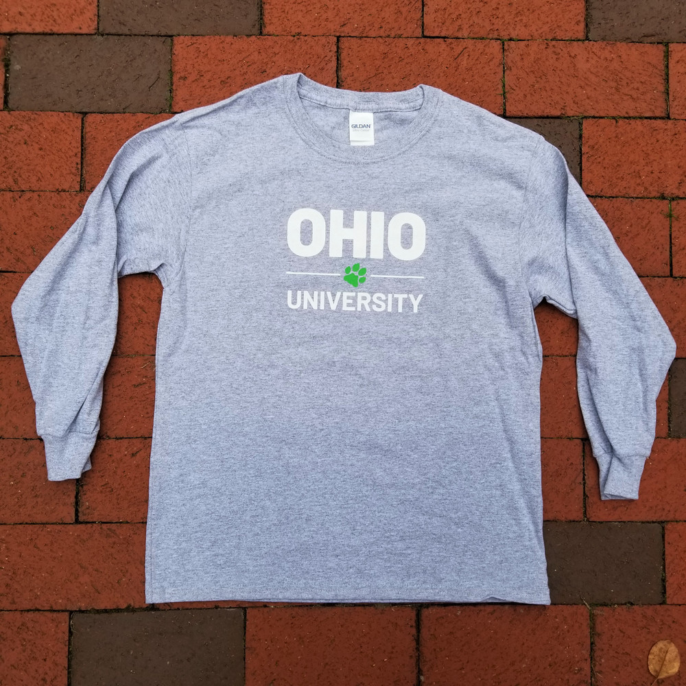 YOUTH STACKED OHIO UNIVERSITY WITH PAW LONG SLEEVE T-SHIRT