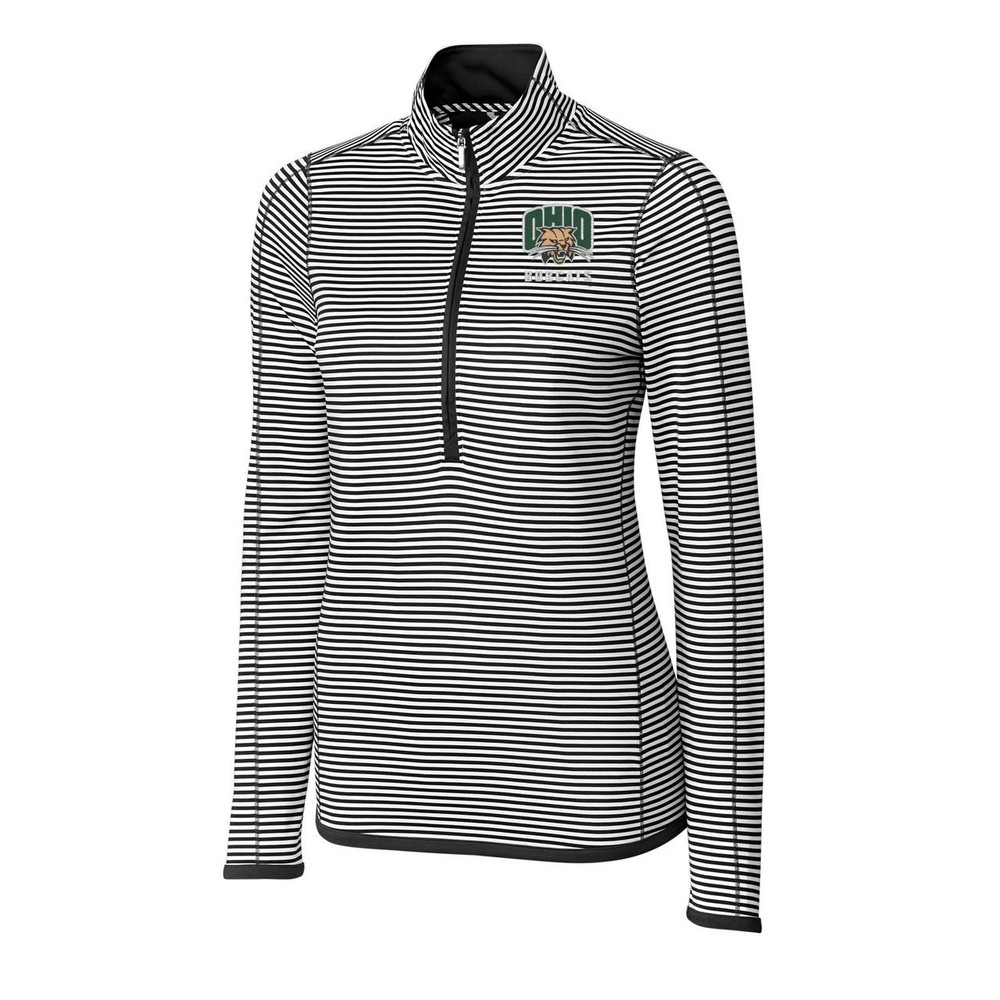 CUTTER & BUCK WOMEN'S 3/4 ZIP TREVOR STRIPE PULLOVER
