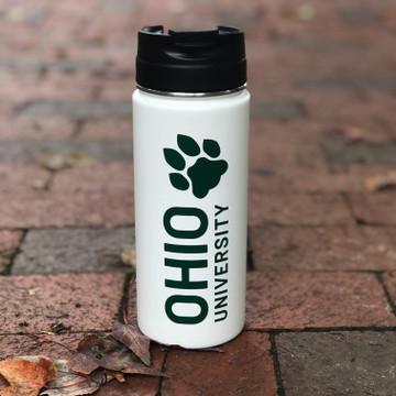 STACKED OHIO UNIVERSITY WHITE TUMBLER 16 OZ
