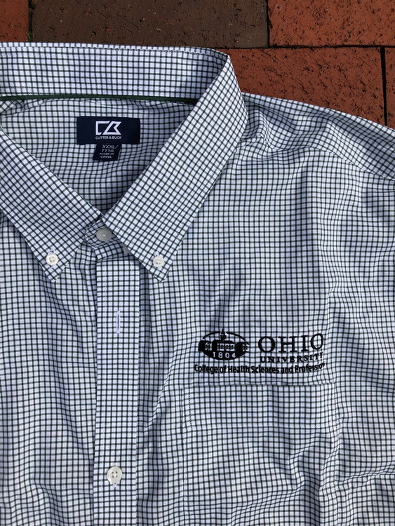 CUTTER & BUCK MEN'S EPIC EASYCARE TATTERSALL SHIRT HSP LOGO XXX-LARGE