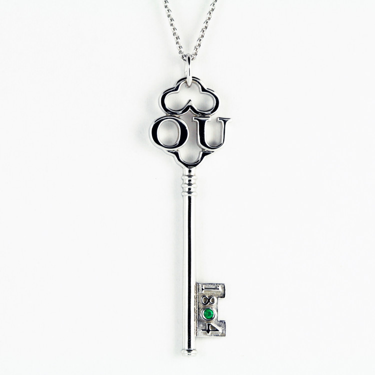Ohio University, OU White Gold & Emerald Key Pendant, Keith Chapman Jewelry