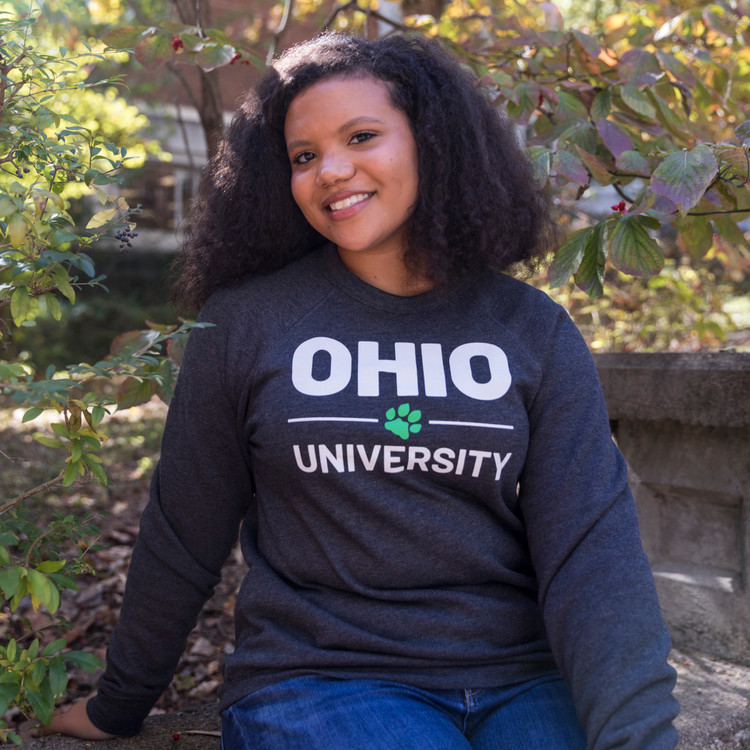 STACKED OHIO UNIVERSITY WITH PAW CREW NECK SWEATSHIRT