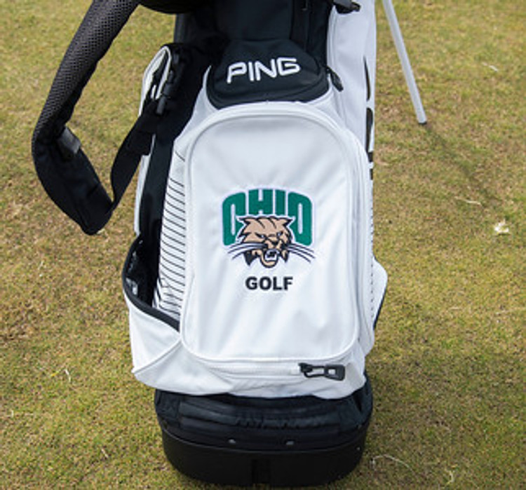 PING HOOFER 15 BLACK AND WHITE DOUBLE STRAP OHIO GOLF BAG