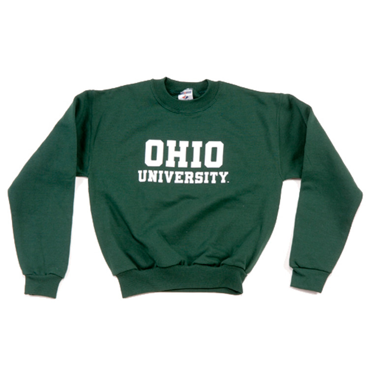 Youth Hunter Green Ohio University Crew Sweatshirt