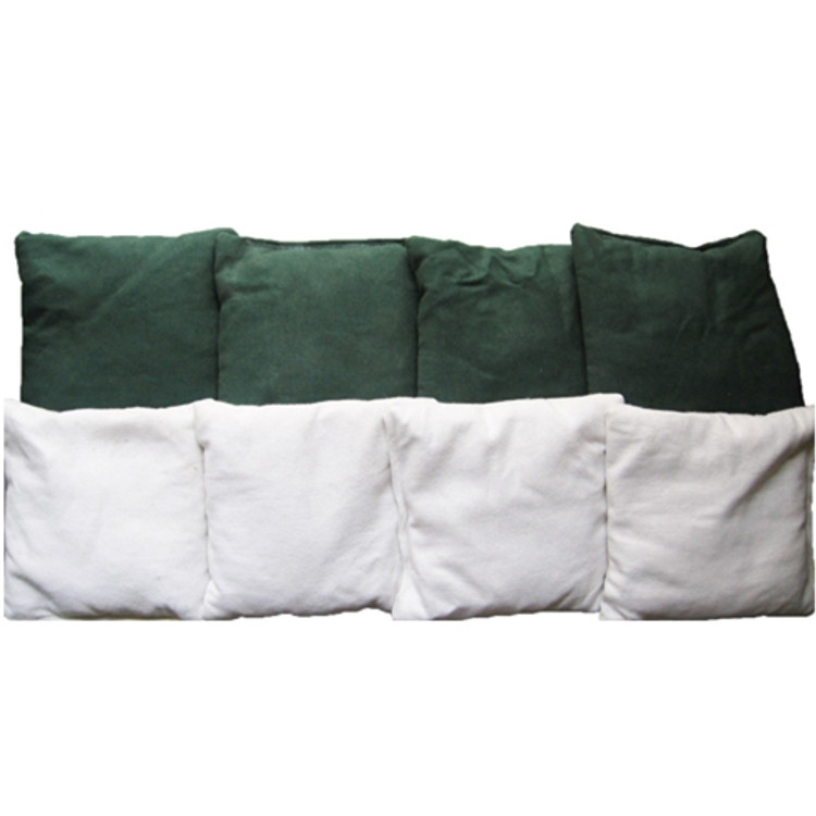 GREEN AND WHITE PLAIN CORNHOLE BAGS SET