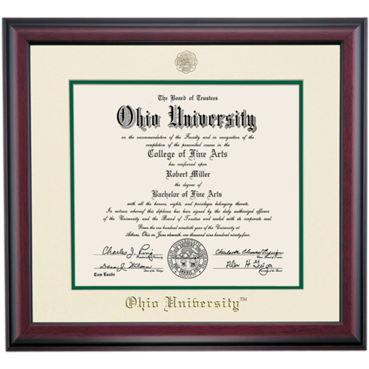 Ohio University Traditional Style Diploma Frame for Associates - Ivory/Hunter
