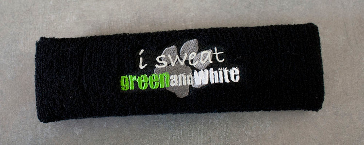 "SAB ""I Sweat Green and White"" Sweatband"