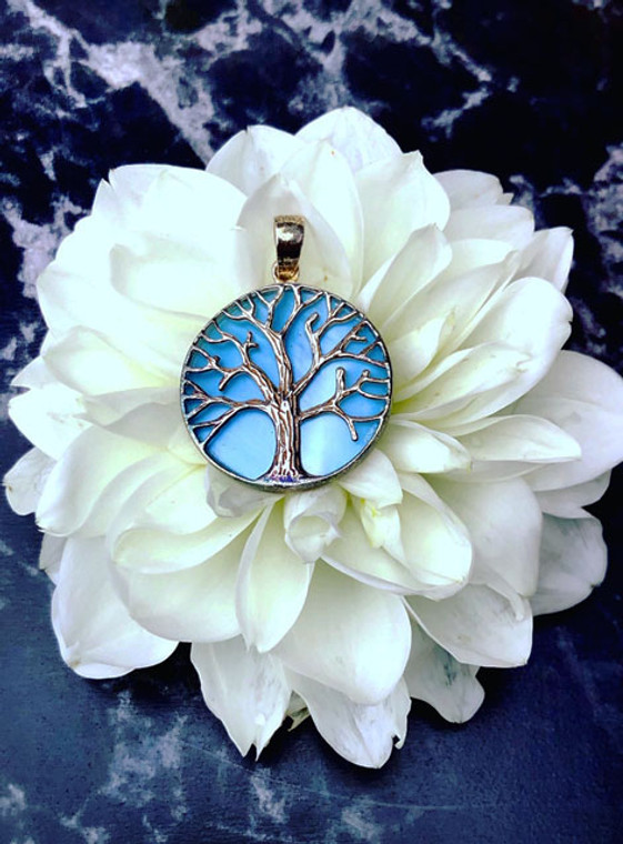 Tree of Life pendant with blue Agate