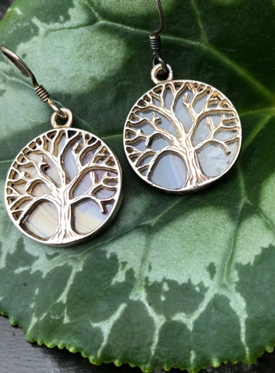 Tree of Life earrings with Mother of pearl