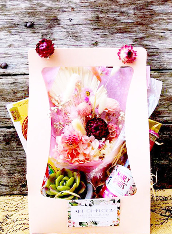 Care pack with snacks and dried flowers