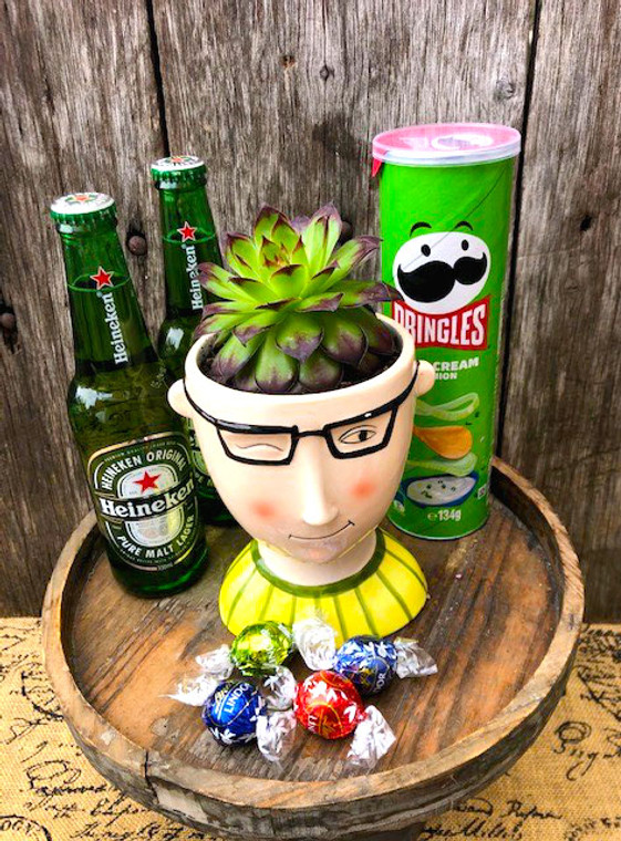 Plant pack with novelty pot and beer.