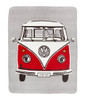 Volkswagen Red Retro Campervan Fleece Throw Blanket