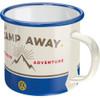 Volkswagen Campervan Lets Camp Away Enamel Tin Mug