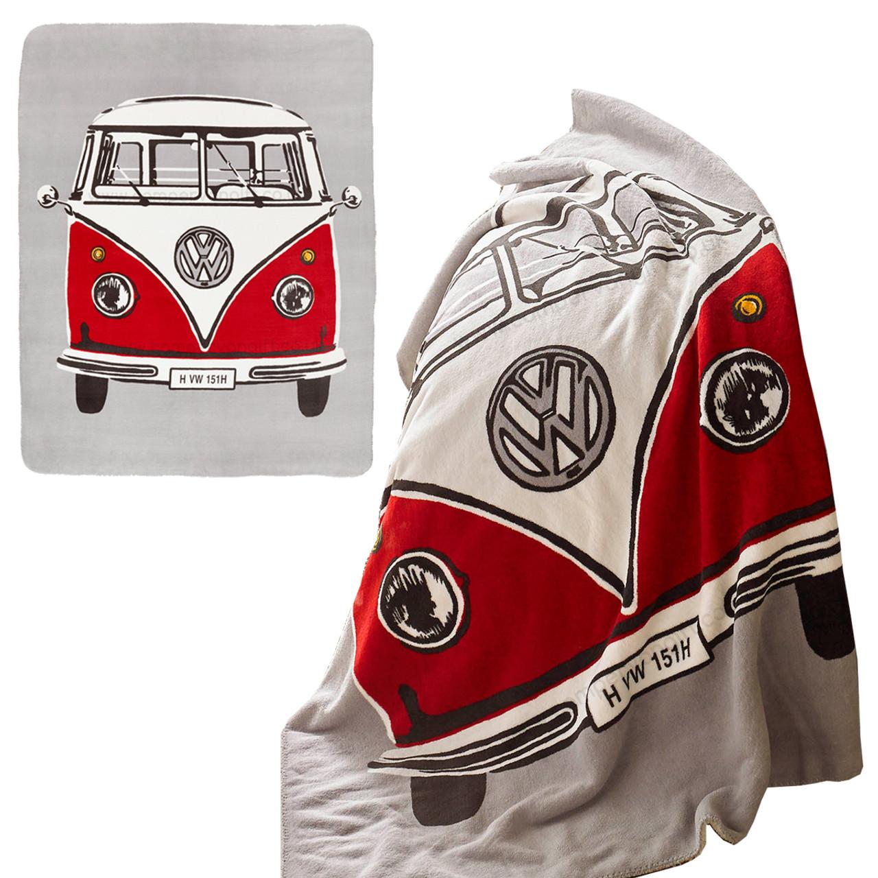Volkswagen Red Retro Campervan Fleece Throw Blanket a9ce4eaed