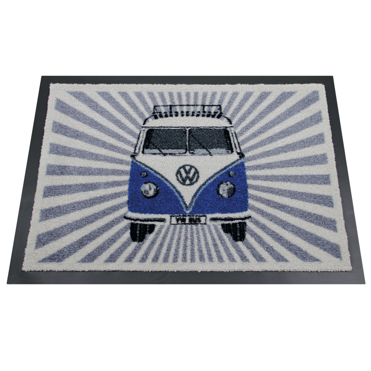 Blue Front Facing Vw Campervan Stripes Doormat High Quality And Washable