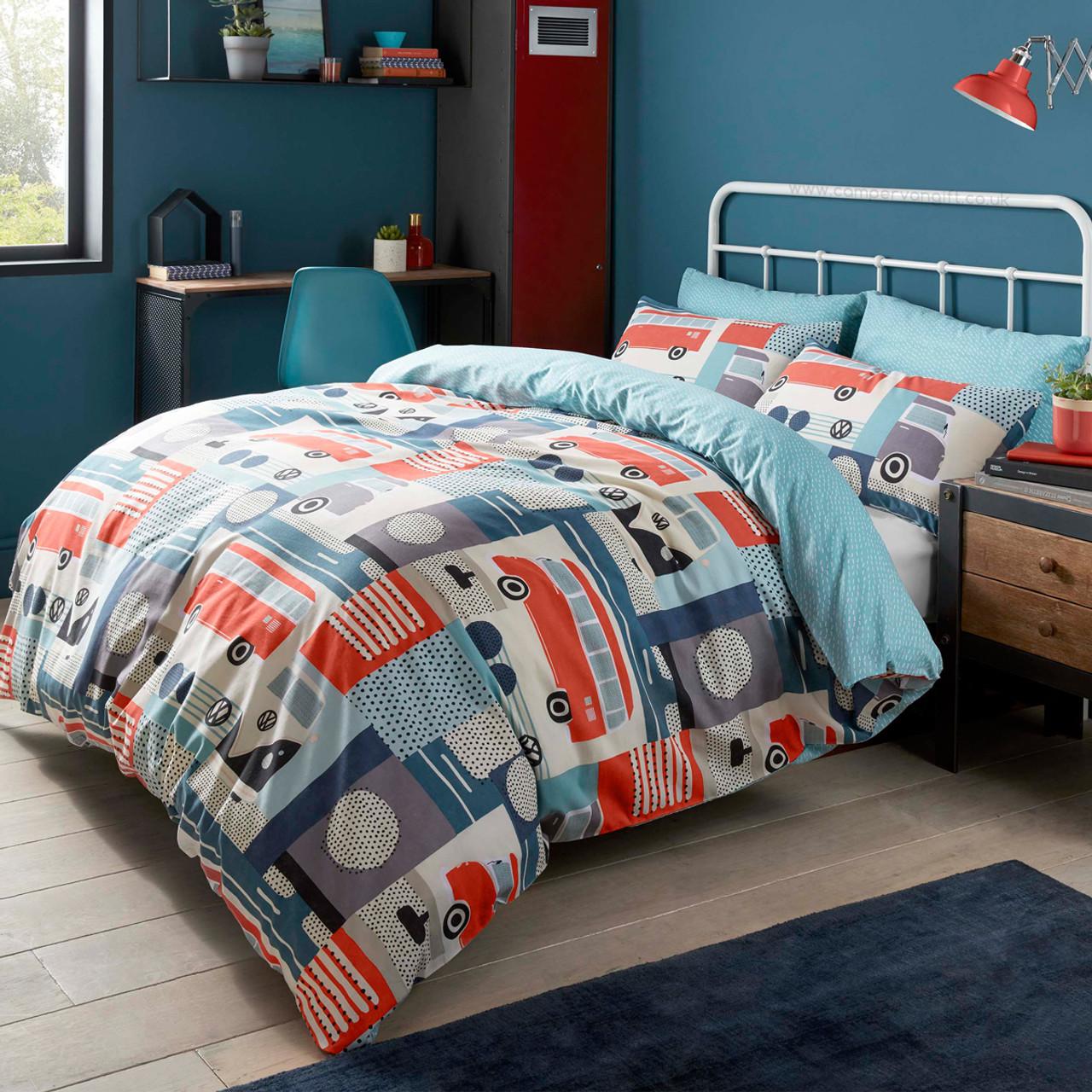 Volkswagen block print campervan duvet and pillow case set sleep in retro comfort