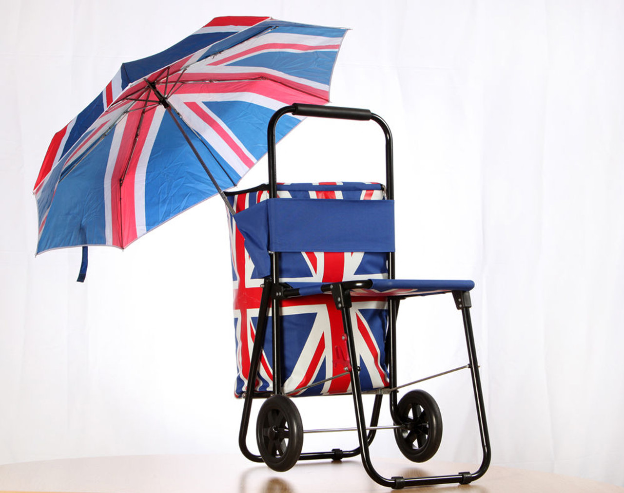 Union Jack Festival Cool Bag Folding Seat Trolley - Campervan Gift Ltd 14c19b54cc494