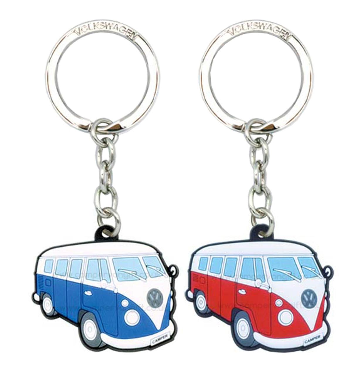 BLUE VW Volkswagon Camper Van Rubber Keyring Key ring