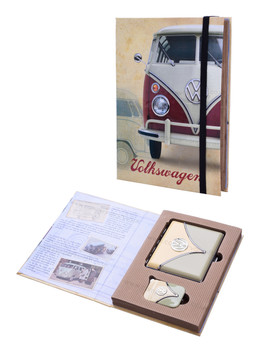 VW Campervan Lighter & Cigarette Case Olive Gift Set