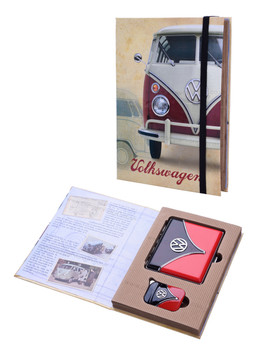 VW Campervan Lighter & Cigarette Case Black & Red Gift Set