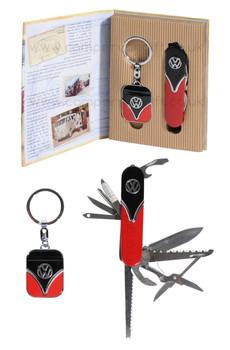 VW Campervan Penknife & Keyring Black & Red Gift Set