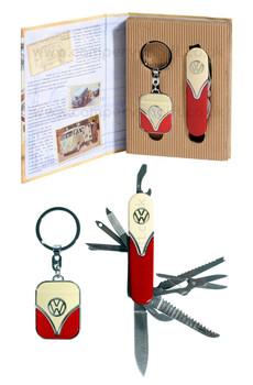 VW Campervan Penknife & Keyring Red & Cream Gift Set