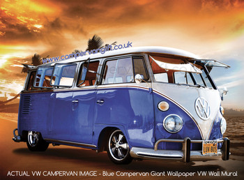 Blue Campervan Sunset Giant Wallpaper VW Wall Mural - Actual Wallpaper Image