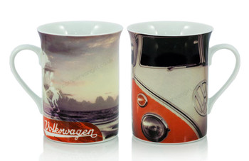 VW Red Campervan & Surfer Coffee Mug