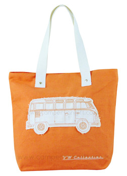 VW Campervan Orange Canvas Shopper Bag