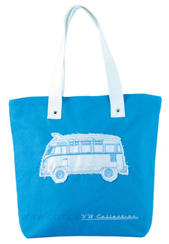 VW Campervan Light Blue Canvas Shopper Bag